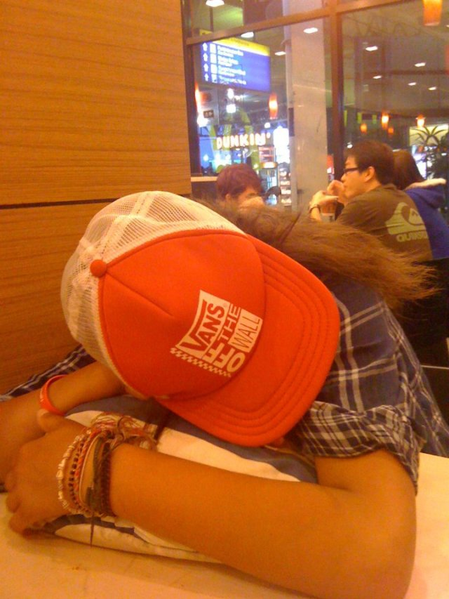 This is how we slept in Mcdonalds for 2 nights